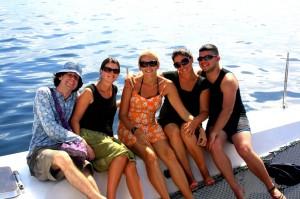 Simon, Erin, Dani, Jessica & Me on spending the day on a catamaran in Bocas Del Toro, Panama!