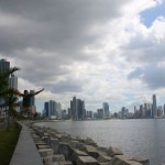 Jumping infront of the Panama City Skyline.