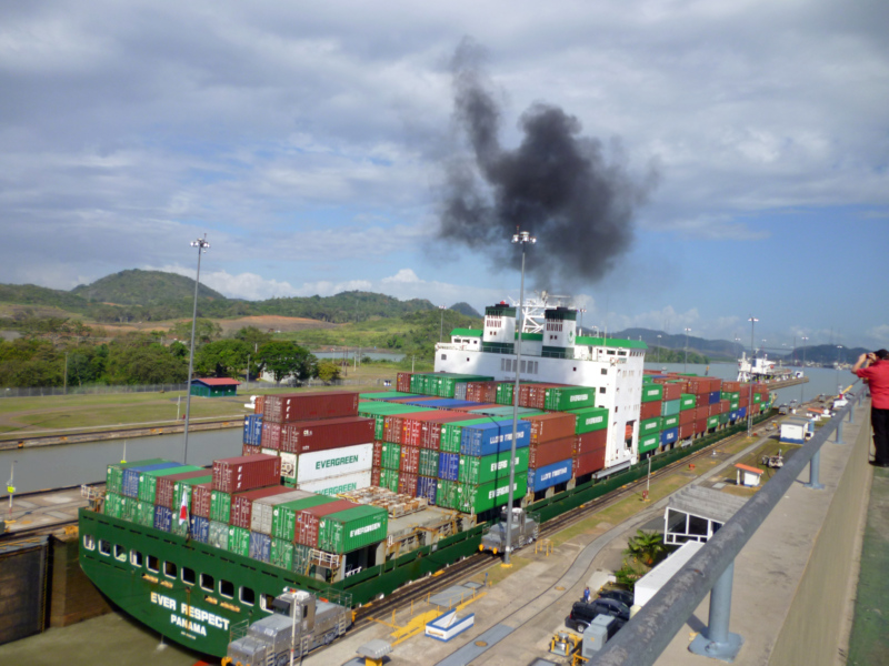 A cargo ship entering one of the locks at the Mira Flores Locks at the Panama Canal.