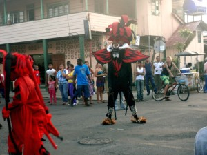 A devil roaming the streets of Bocas during Carnival.