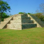 Mayan flat topped pyramid known as Copan Structure 4 in the center of the Monument Plaza in Copan Ruinas, Honduras!!!