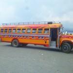 "This is a shot of a classic ""Chicken Bus"" in Central America. You grow to love them a lot."