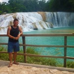 A shot of me at the waterfalls Agua Azul. It is about 1.5hrs from Palenque. I spent the day there swimming, jumping, diving & swinging into the river. The water was freezing cold, but amazing and so clear.