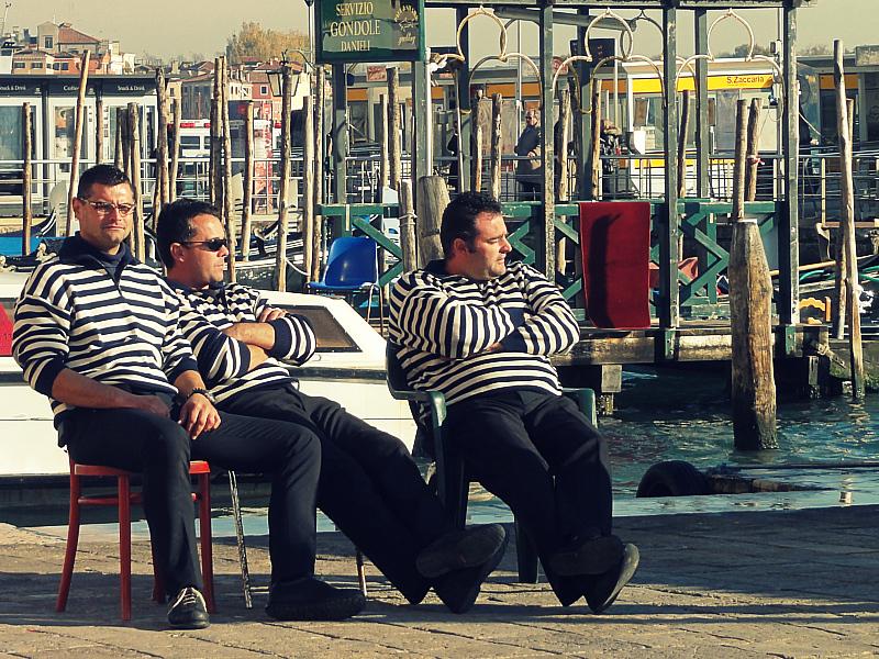Gondola Riders in Venice