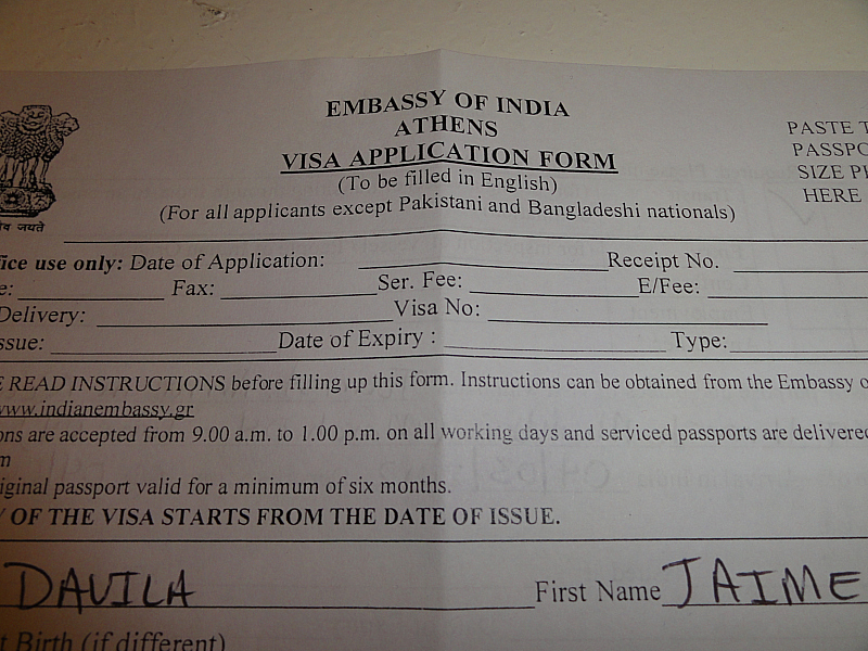 INDIAN VISA APPLICATION IN ATHENS!