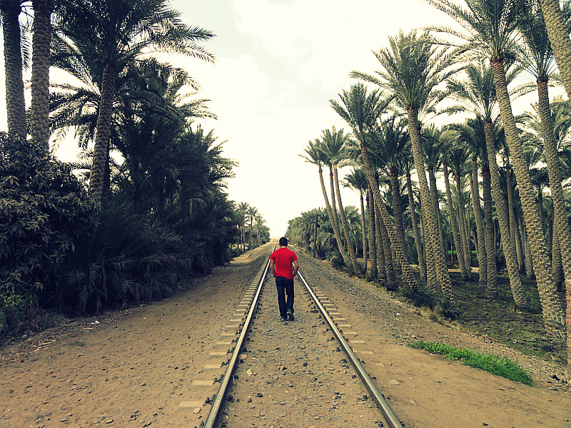 Walking down the rail road in Egypt.