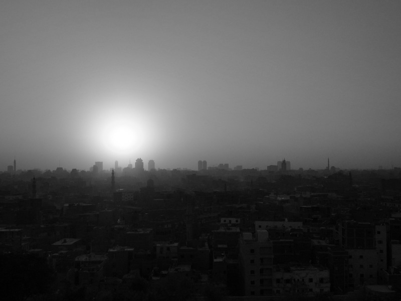 Sunset over Cairo in black & white.