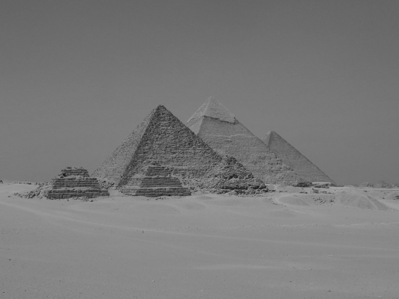 The Great Pyramids of Giza in black & white
