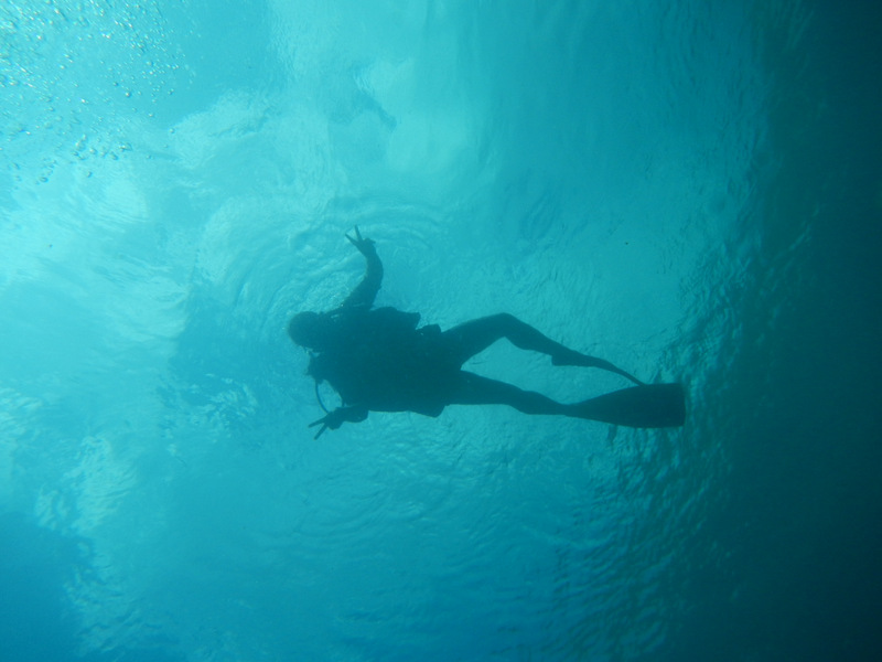 Scuba Diver from underneath.