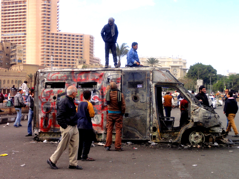 Burnt riot truck in Tahrir Sq.