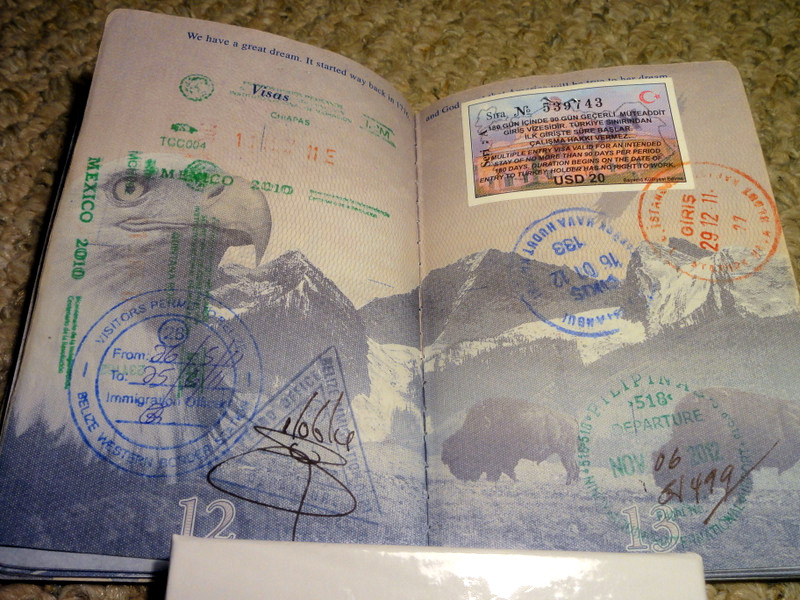 VISA stamps from around the world.