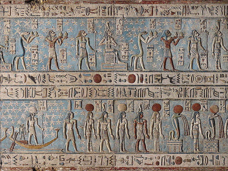 Color hieroglyphics in Egypt.