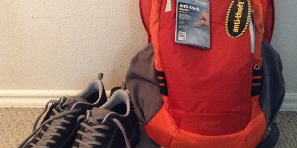 Day pack & hiking shoes for a trip around the world.