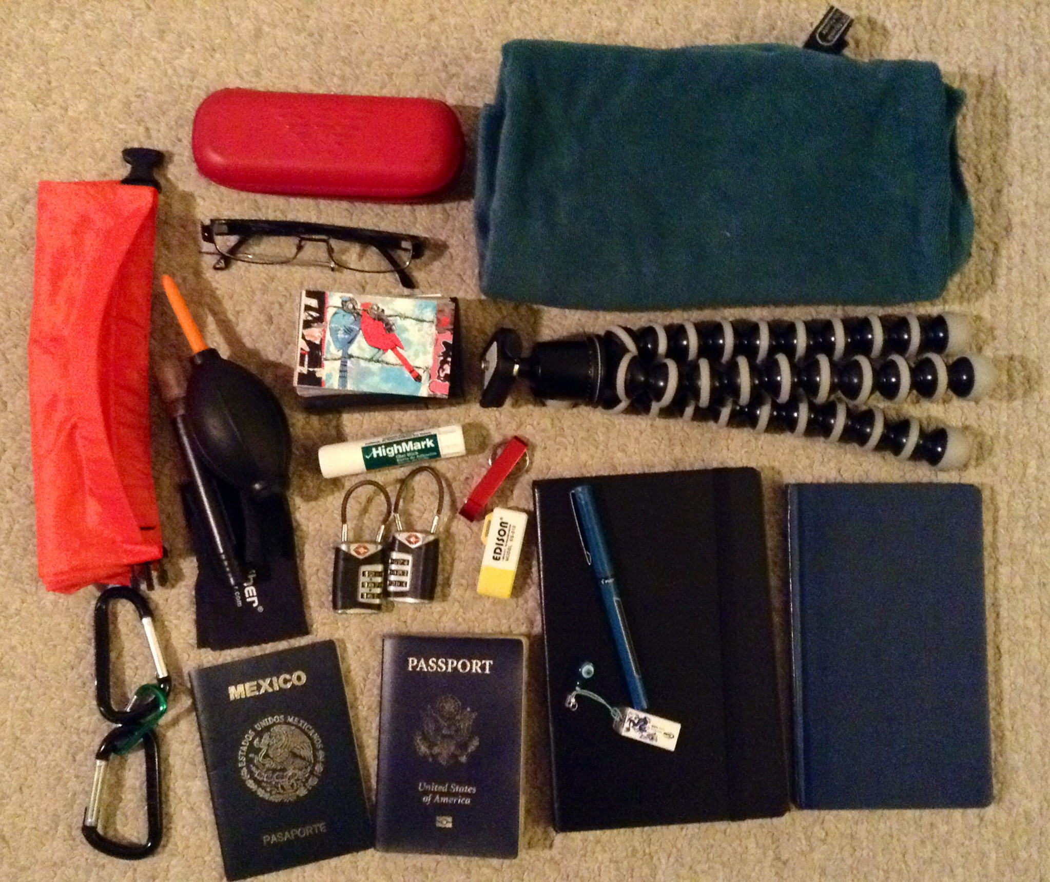 Packing list for a trip around the world.